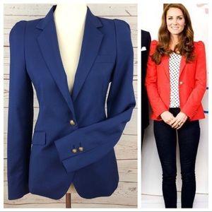 Zara Kate Middleton Navy Puff Sleeve Blazer